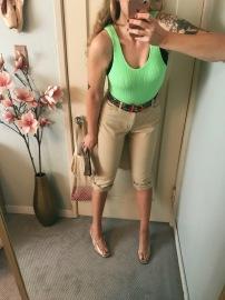 asos crinkle lime green swimsuit, vintage ralph lauren petal pushers, thrifted snake belt & clear plastic heels.